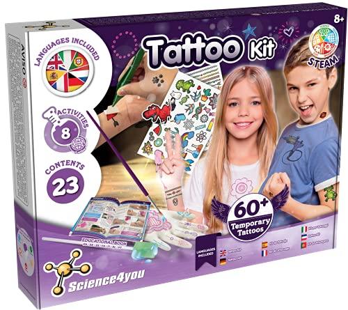 Science4you - Fábrica de Tatuajes Temporales para Niños 8 Años - Kit Manualidades y Experimentos para Niños: Haz 8 Actividades y +60 Tatoos Infantiles, Regalo para Niñas, Juegos Educativos 8-10 Años