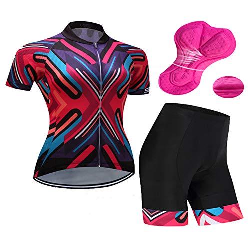 IJNUHB Fietsshirt voor heren, fietsshirt met korte mouwen, fietskleding, fietsbroek met zakken, ademend, comfortabel siliconen zitkussen, outdoor-outfit