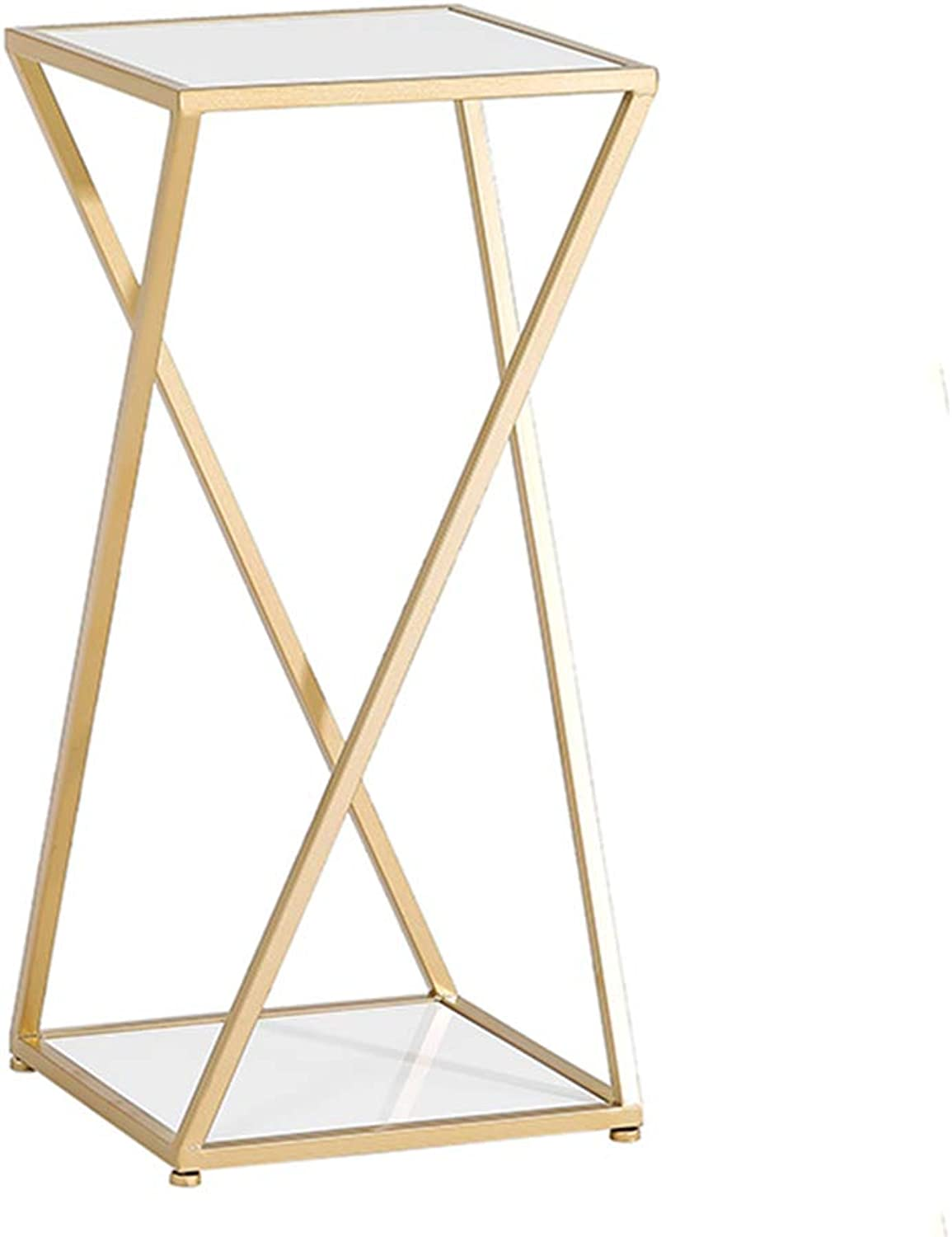 MEIDUO Side Table,Meta Nesting Tables Faux Marble Sofa Table End Table for Bedroom Living Room Modern Design (color   gold+White, Size   Large)