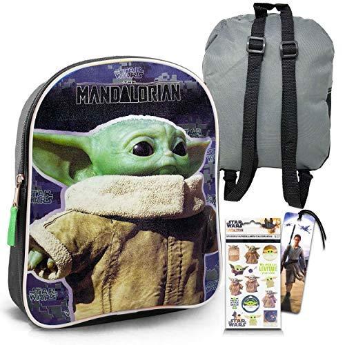 Mandalorian Baby Yoda Backpack for Toddlers Kids Bundle - Premium 11  Baby Yoda Mini School Bag with Stickers and Bookmark (Star Wars Mandalorian School Supplies)