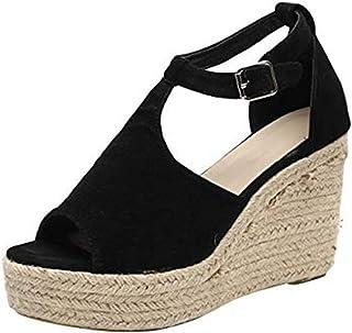 6001e030 Sandalias Mujer de Tacón Cuñas Peep Toe Verano Zapatillas de Playa Plataforma  Zapatos con Hebilla Rosa