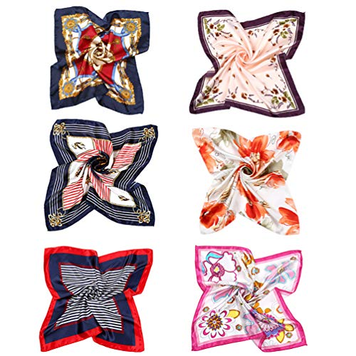 VBIGER Pañuelo de Seda Cuadrado para Mujer,6 pcs