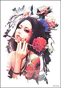 GS912 Tattoo 8.2  X5.7   Japan Japanese Geisha Girl Large Tattoos 3D Temporary Tattoo Stickers Style Chinese Old School Tribe for Women Girls Fake Tattoo Body Art Waterproof  07