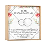 Caregiver Thank You Gift Necklace: Caretaker, Nurse, Attendant, Appreciation, 2 Interlocking Circles (silver-plated-brass, NA)