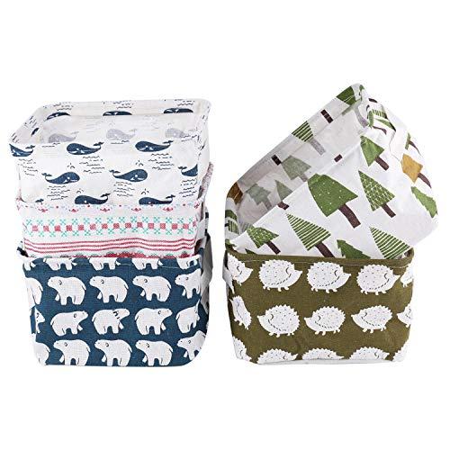 Tebery, 5 cestini portaoggetti in Tessuto con Manici, Pieghevoli, Impermeabili, Adatti per scrivania e per la casa, 20,5 x 16 x 13 cm (Balena, Orso Polare, Riccio, Alberi, Ricamo)