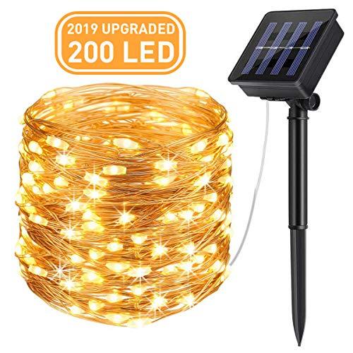 AICase Catena Luminosa Solare da Esterno, 22m 200 LED Stringa Luci Solari Impermeabile IP67 per Decorazione Giardino, Camera da Letto, Matrimonio, Alb