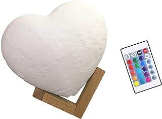 FRCOLOR 3D الطباعة القمر ضوء القلب غالاكسي مصباح التحكم عن بعد قابل للشحن USB ضوء ليلي للأطفال مع قاعدة خشبية مصباح بجانب ...