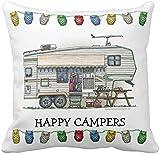 BONRI Lindo RV Vintage Quinta Rueda Camper Travel Trailer Throw Pillow Case Square Soft Polyester Cojín para sofá, 18'x18