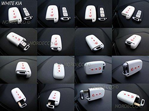 Haute qualité Coque en silicone 3 boutons sans clé Smart Key Fob Coque de protection Coque pour 2014 2015 2016 2017 Kia Sportage Sorento Picanto Venga Carens Opitma Rio Soul (Blanc)
