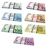 Caja para Scratch Cash Mini Bundle 175 billetes – 7 palos – 25 x Euros 5, 10, 20, 50, 100, 200 y 500 billetes falsos Scratch Cash. Los billetes tienen la medida original del euro