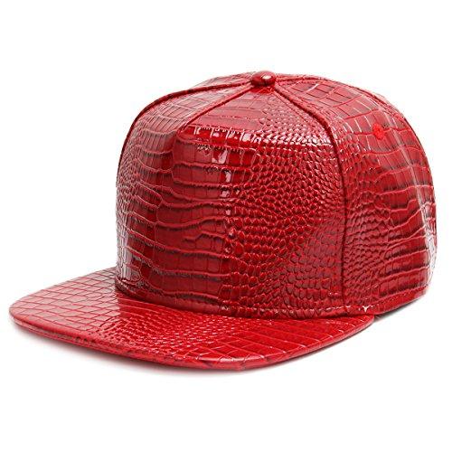CUSFULL Gorra de béisbol Hip Hop Estilo orra de béisbol Plana del Borde con la Muestra Religiosa del Metal del Elemento (Rojo)