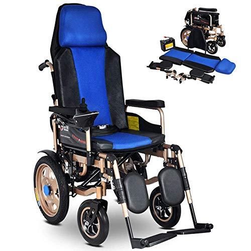 BBG Foldable Electric Wheelchair,Intelligent Automatic Portable Scooter Smart Brake Powerful Dual Motor Reversing Alarm Reminder Wheelchair Folding/Blue