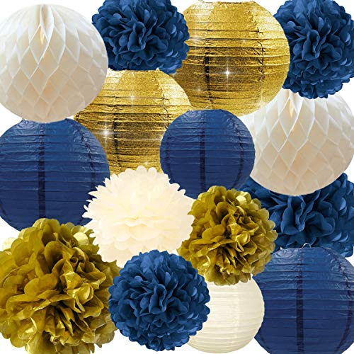 NICROLANDEE Navy Party Decorations Navy and Gold Glitter Paper Lanterns Tissue Pom Poms Hanging Honeycomb Ball for Navy Blue Birthday Decorations Baby Shower Wedding Bridal Shower Home Decor