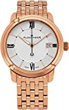 Alexander Heroic Macedon Mens Rose Gold Watch Metal Band - 40mm Analog Silver Face with Second Hand Date and Sapphire Crystal - Classic Swiss Made Quartz Dress Watches for Men Gold Tone A111B-08