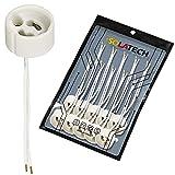 Portalámparas GU10 base para lámpara de cerámica con manguitos de cable. VDE RoHS 230-250 voltios 2A máx. 100W para lámparas halógenas y LED de ISOLATECH, aquí: 10 piezas