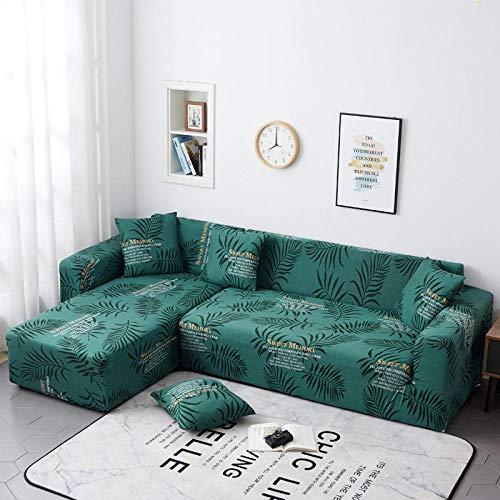 Fundas Sofas 3 y 2 Plazas Ajustables Hoja Verde Esmeralda Fundas Sofá,Universal Funda Cubre Sofas Ajustables, Antideslizante Protector Cubierta de Muebles(195-230cm)