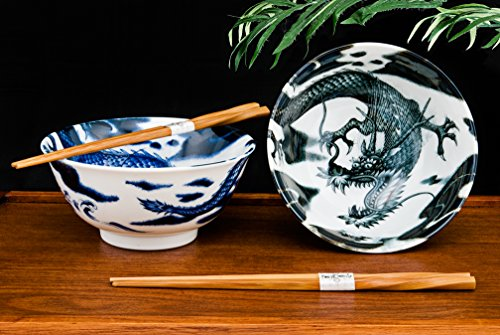 Quality Japanese Rice or Noodle Bowls 6' Diameter Multi Purpose Tayo Bowl Set of 2 with Chopsticks Gift Set Imported From Japan (Dragons)