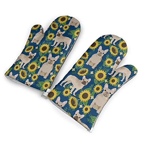 CUUOP13 French Bulldog Sunflowers Oven Mitts Grilling Gloves BBQ Kitchen Oven Mitts Long Waterproof Non-Slip Potholder for BBQ Cooking Baking Grilling Gloves