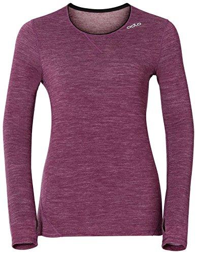 Odlo Damen Long Sleeve Shirt Crew Neck Revolution TW Warm Funktionsunterwäsche-Unterhemden-Bekleidung, Magenta Purple Melange, M
