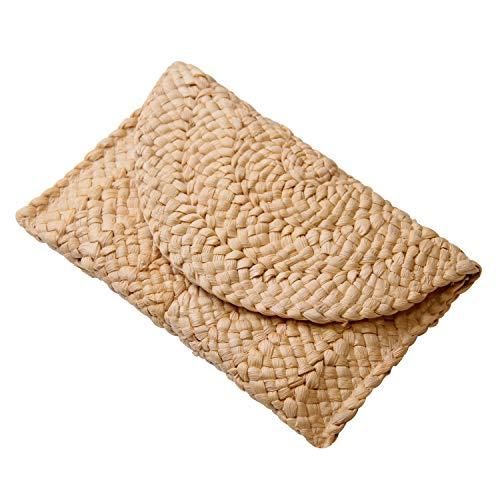 Freie Liebe Women's Straw Clutch Purse Summer Beach Bags Envelope Wallet Woven Handbags