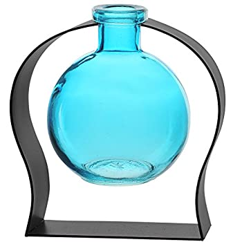 Couronne Company M244-200-09 Ball Recycled Glass Vase & Arched Metal Stand 5 3/4  Aqua 1 Piece