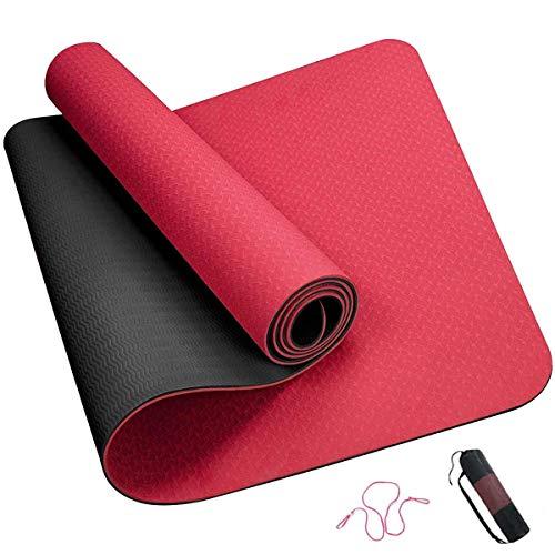ROMIX Esterilla Yoga, Exercise Mat Eco-Friendly 6MM de Gruesor TPE con Bolsa de Transporte, Colchoneta de Yoga Antideslizante para Hombres, Mujeres, Hogar, Gimnasio, de Meditación Pilates (Rojo)