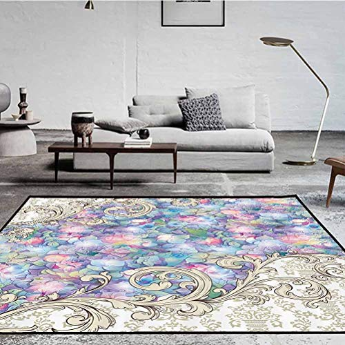 Ornaments Polyester Arti Area Rug Indoor and Outdoor Hydrangeas Romantic Flowers with Cream Color Baroque for Her Special Collection Art Nouveau Design Decor Lilac Multicolor 7.5 x 5 ft