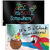 Rhungift 2Pack It's 5 O'Clock Somewhere Flag 3x5 Ft Sign Outdoor 100D Polyester Summer Holiday Five O'Clock Somewhere Novelty Party Parrot House Flag