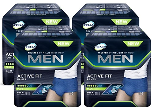 TENA Men Pants Plus Medium (M) - Inkontinenz-Slips für Herren (1 Karton = 4 x 12 = 48 Stück)