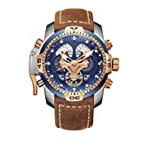 Reef Tiger Military Watches Men Stainless Steel Blue Dial Watch Sport Automatic Watches RGA3503