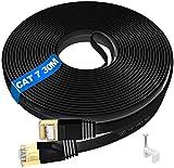 Cable Ethernet 30 metros Exterior - CAT 7 Cable Ethernet 30M Cable De Red Plano LAN Cable 10Gigabit 600Mhz con Conector Rj45 Compatible para PS4 Router Ordenador MóDem Pc Xbox, Impermeables
