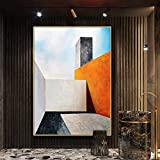 Pintada A Mano Pintura Al Óleo,Dibujos Y Servicios Abstractos Rectangulares Edificio Rectangular Pintura Al Óleo Sobre Lienzo Porche Moderno Decoración Del Hogar Wall Art Picture No Frame,60X90Cm