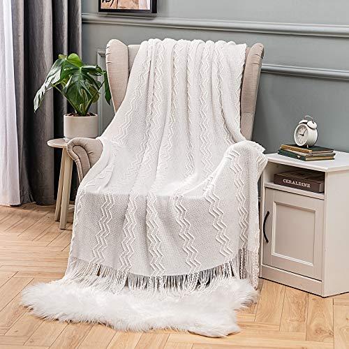 MIULEE Kuscheldecke Welle Fleecedecke Decke Weich Flauschig Einfarbig Wohndecken Couchdecke Sofadecke Blanket für Bett Sofa Schlafzimmer Büro, 125x150 cm Weiß