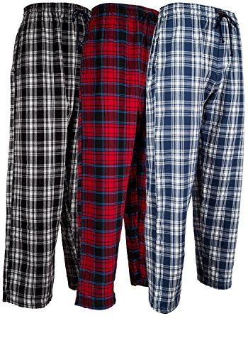 Andrew Scott Men's 3 Pack Cotton Flannel Fleece Brush Pajama Sleep & Lounge Pants (2XL, 3 Pack - Classic Flannel Assorted Plaids)