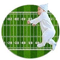 ソフトラウンドエリアラグ滑り止めフロアサークルマット 80x80cm/31.5x31.5IN 吸収性メモリースポンジスタンディングマット,ヤードを示すアメリカンフットボールのフィールド