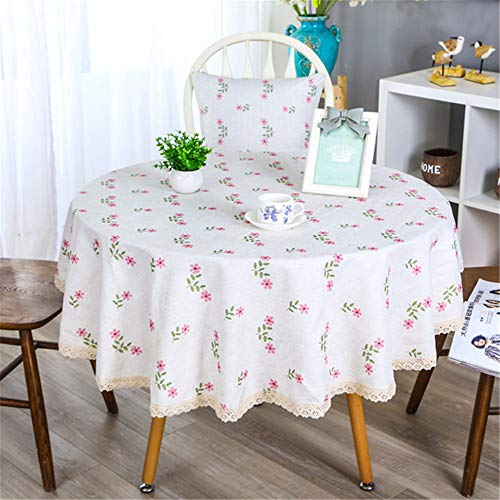 SONGHJ Algodón Lino Borla Mantel decoración del hogar Partido Mesa Redonda de Tela Cumpleaños Halloween Cubierta de Tabla de té D diámetro 150 cm