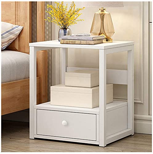 Nightstand with Drawers,Bedside Table with Drawer,Bedside Cupboard,Bedside Cabinets,Small Spaces Side End Table (White-1Drawer)
