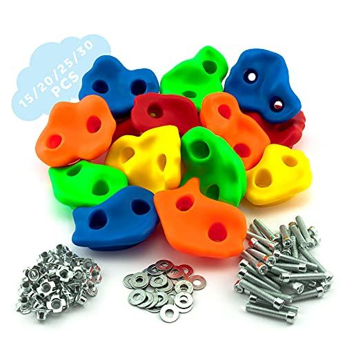 GO!elements presas de Escalada Kids Set Outdoor Incl. Material de fijación | Piedras de Escalada para Paredes | Piedras de Colores para Torres de Juegos para niños con tornillos15/20/25/30er S