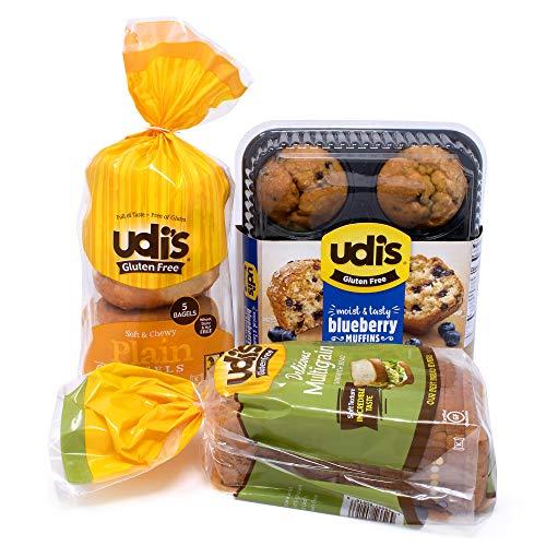 Udi's Gluten Free Frozen Breakfast Bundle with Multi-Grain Bread, Plain Bagels & Blueberry Muffins, Frozen Meals, Gluten-Free