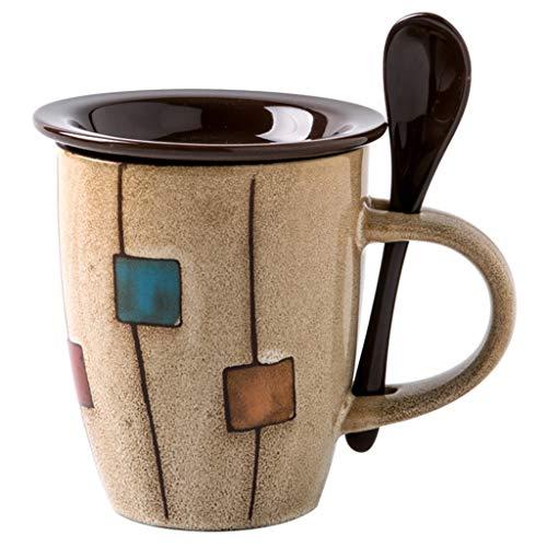 Un Juego De Tazas De Café con Tapa Y Cuchara 11 Oz Taza De Café De Cerámica Juego De Tazas De Café Multicolor Adecuado para Tazas De Café Té Y Leche (Color : Beige, Size : 8.3 * 8.3 * 10.4cm)