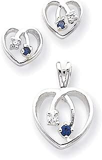 Lex & Lu Sterling Silver Blue & Clear CZ Heart Earrings & Pendant Set