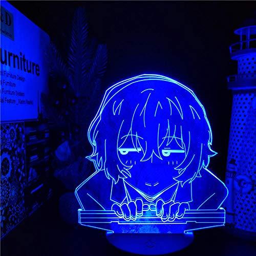 BUNGO STRAY DOGS DAZAI Anime Lampe 3D LED Nachtlichter Farbwechsel Lampara für Schlafzimmer Dekoration-Black Base Fernbedienung