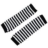 Robber Guantes de invierno de moda con estilo caliente Negro blanco rayado largo sin dedos