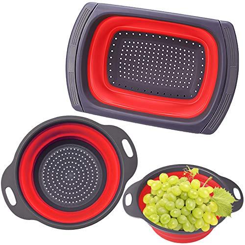 BEYAOBN 3 Piezas Colador Plegable, Robusto y Sin BPA,Escurridor Extensible con Mango Antideslizante Escurrir Verduras, Frutas, Pastas, etc.(Rojo)