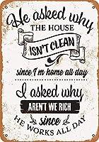 なぜ家はきれいではなく、私たちはリッチメタルではありませんレトロな壁の装飾ティンサインバー、カフェ、家の装飾