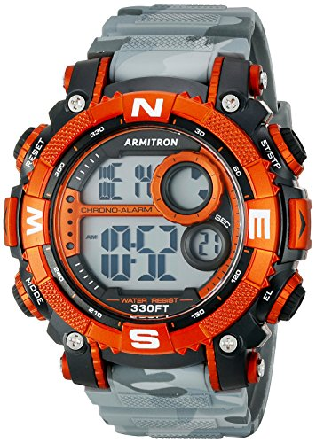 Armitron Sport 40 Reloj digital con brazalete de resina negra para hombre, Gris/Anaranjado