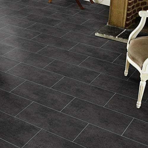 PVC Bodenbelag Fliese Schwarz mit Textilrücken (Musterstück in DIN A4)