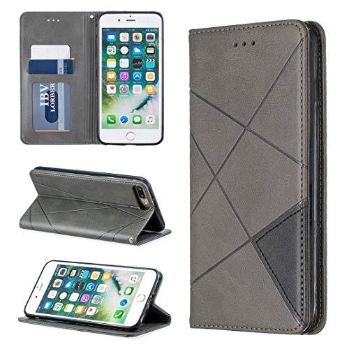 Saturcase Rhombus Hoesje voor Apple iPhone 7 Plus/8 Plus, PU-leer, met ingebouwde magneetvakken, vakjes voor pasjes, standfunctie, telefoonhoesje, hoesje voor Apple iPhone 7 Plus/8 Plus., grijs