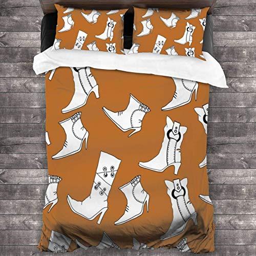 Maja Shop 3-teiliges Bettwäsche-Set mit Stiefel-Motiv, unisex, 213 x 178 cm, mit Reißverschluss, superweicher Mikrofaser, Bettdeckenbezug, mit Kissenbezug, für Schlafzimmer, Gästezimmer und Hotel