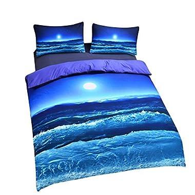Sleepwish Deep Sleep Duvet Cover Set Home Textile Moon And Ocean Bedding Cool 3D Vivid Print Soft Blue Bed Spread Full Size